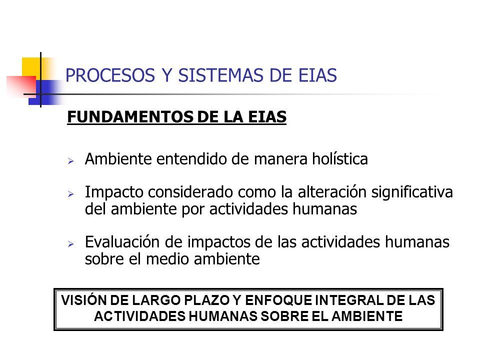 PROCESOS Y SISTEMAS DE EIAS FUNDAMENTOS DE LA EIAS Ambiente entendido de manera holística Impacto considerado como la alteración significativa del amb