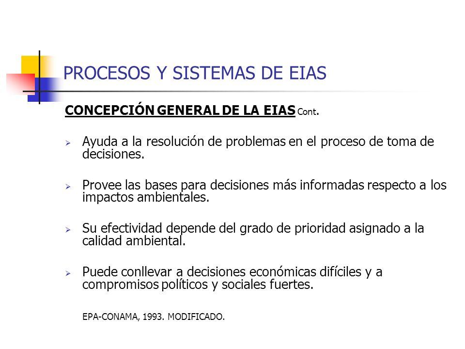 PROCESOS Y SISTEMAS DE EIAS CONCEPCIÓN GENERAL DE LA EIAS Cont. Ayuda a la resolución de problemas en el proceso de toma de decisiones. Provee las bas