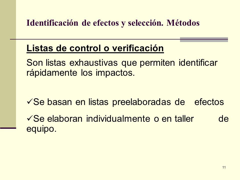11 Identificación de efectos y selección. Métodos Listas de control o verificación Son listas exhaustivas que permiten identificar rápidamente los imp