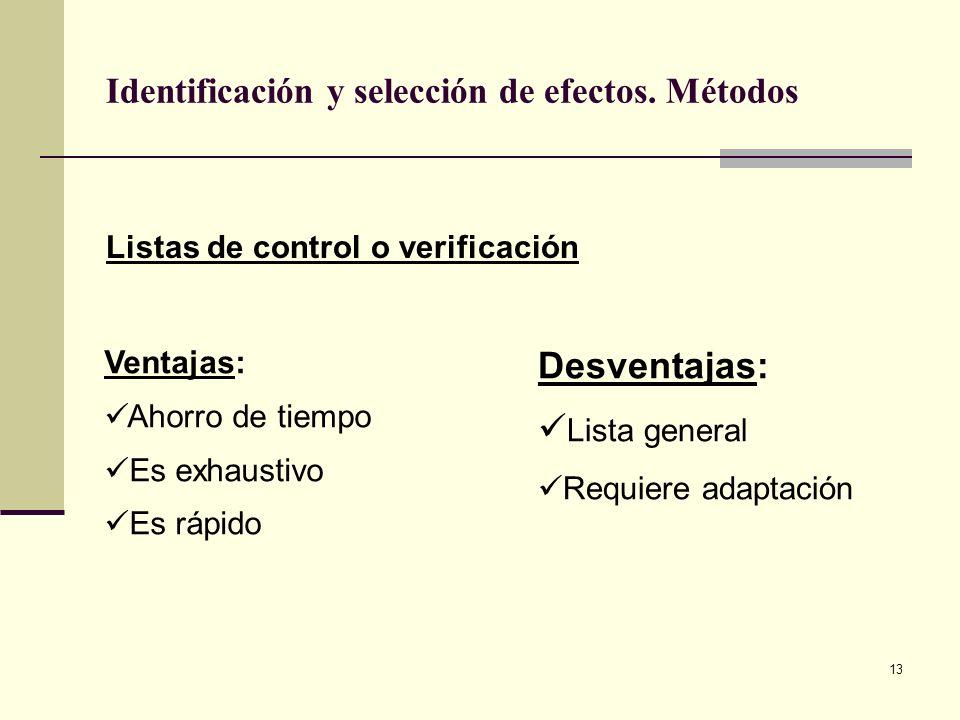 13 Identificación y selección de efectos. Métodos Listas de control o verificación Ventajas: Ahorro de tiempo Es exhaustivo Es rápido Desventajas: Lis