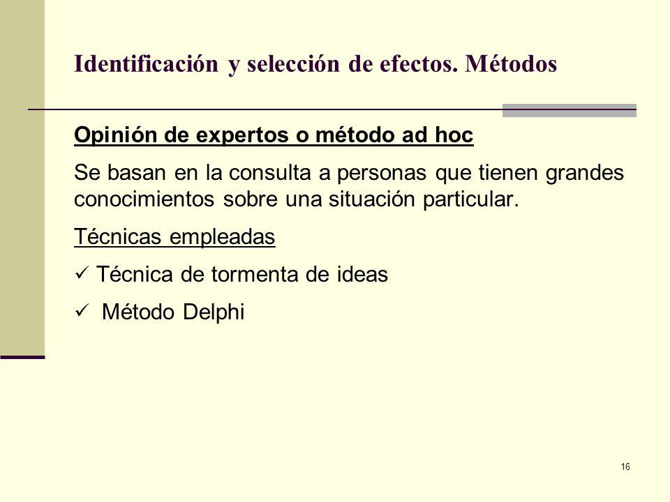 16 Identificación y selección de efectos. Métodos Opinión de expertos o método ad hoc Se basan en la consulta a personas que tienen grandes conocimien