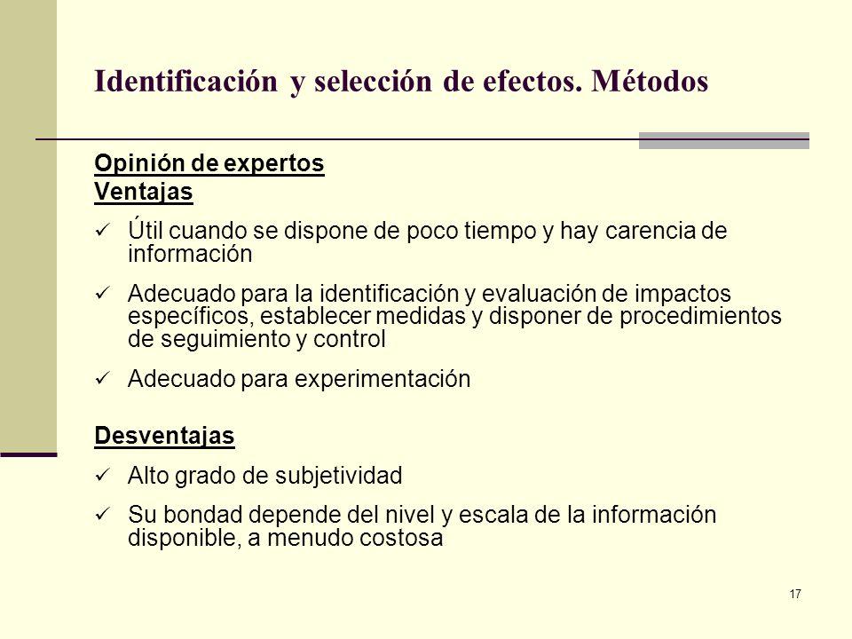 17 Identificación y selección de efectos. Métodos Opinión de expertos Ventajas Útil cuando se dispone de poco tiempo y hay carencia de información Ade