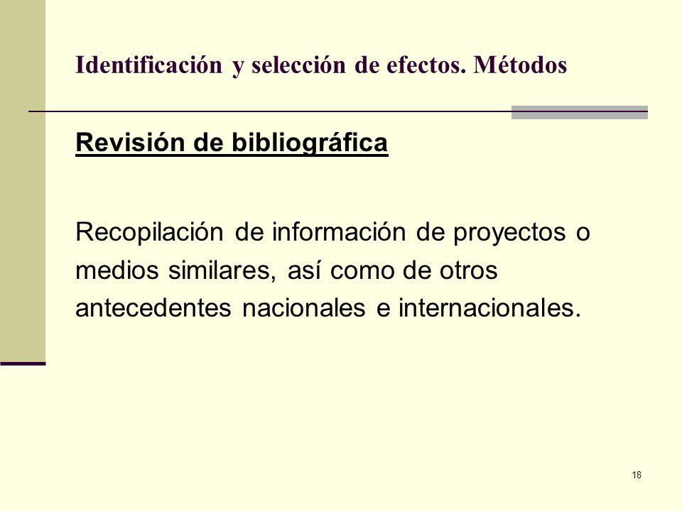 18 Identificación y selección de efectos. Métodos Revisión de bibliográfica Recopilación de información de proyectos o medios similares, así como de o