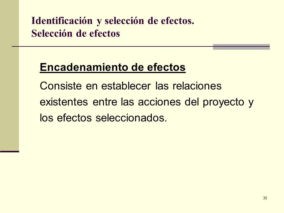 30 Encadenamiento de efectos Consiste en establecer las relaciones existentes entre las acciones del proyecto y los efectos seleccionados. Identificac
