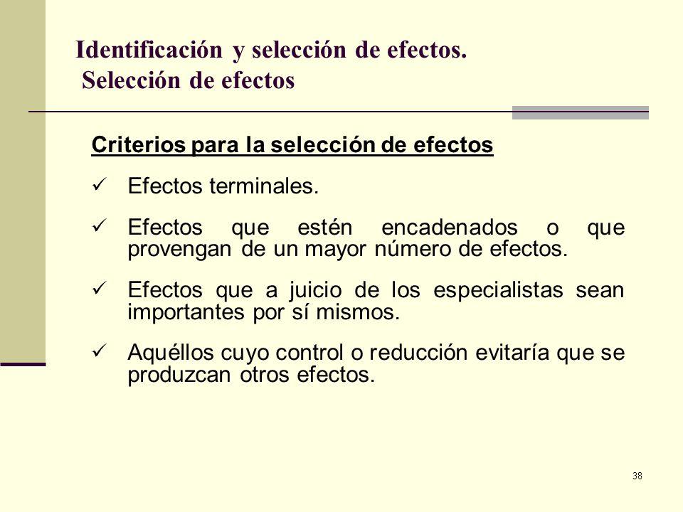 38 Criterios para la selección de efectos Efectos terminales. Efectos que estén encadenados o que provengan de un mayor número de efectos. Efectos que