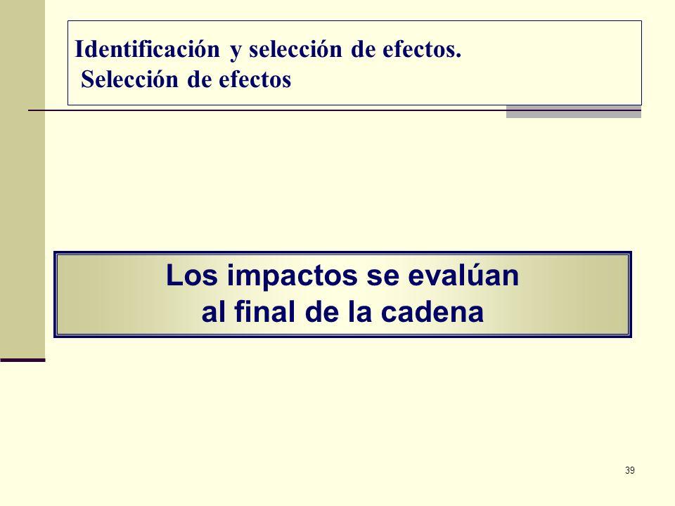 39 Los impactos se evalúan al final de la cadena Identificación y selección de efectos. Selección de efectos