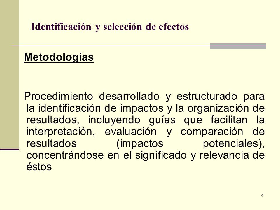 4 Identificación y selección de efectos Metodologías Procedimiento desarrollado y estructurado para la identificación de impactos y la organización de