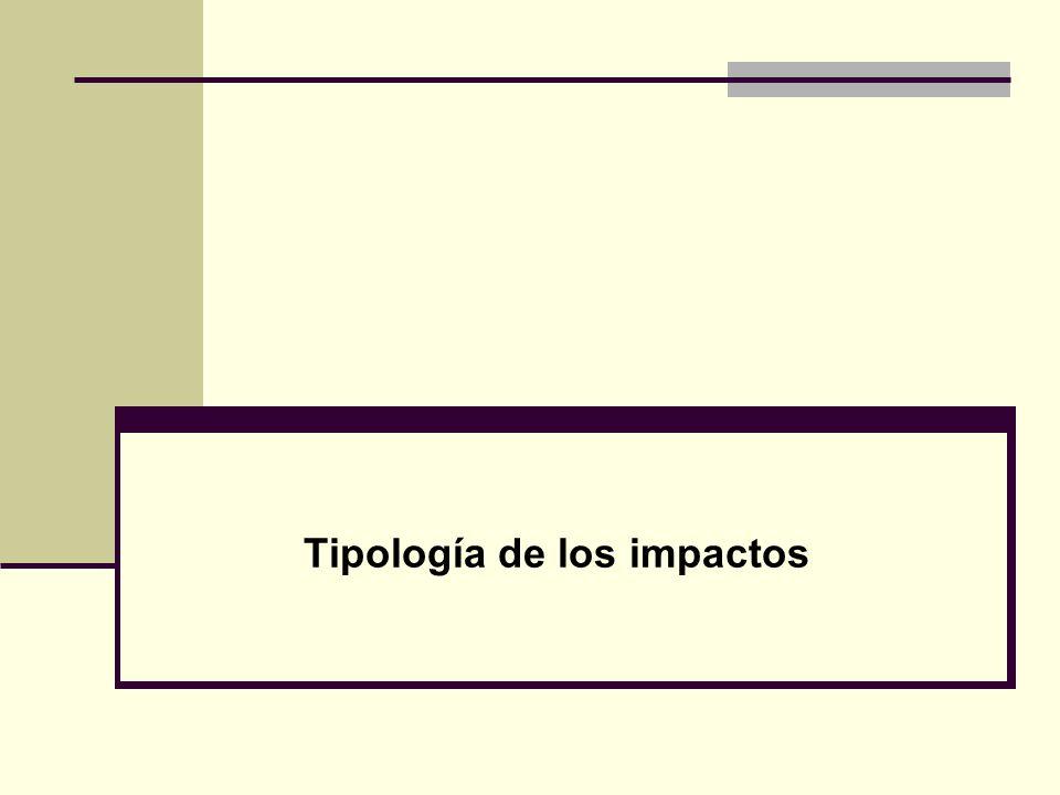 Tipología de los impactos