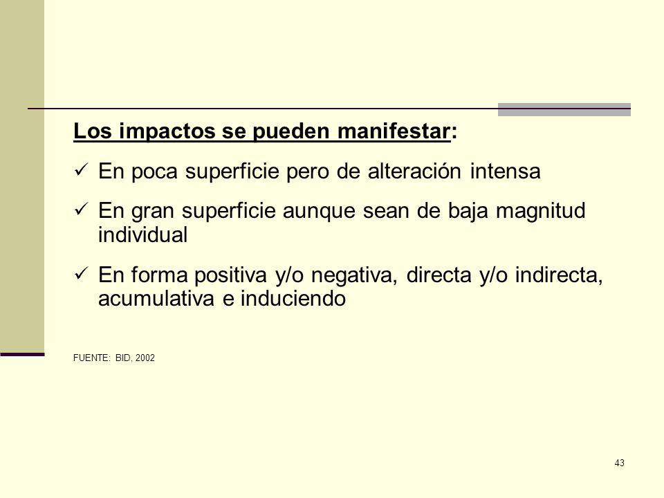 43 Los impactos se pueden manifestar: En poca superficie pero de alteración intensa En gran superficie aunque sean de baja magnitud individual En form