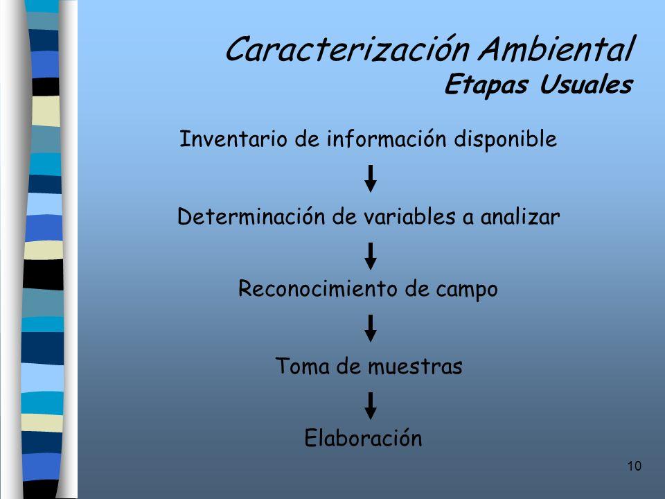 10 Caracterización Ambiental Etapas Usuales Inventario de información disponible Determinación de variables a analizar Reconocimiento de campo Toma de