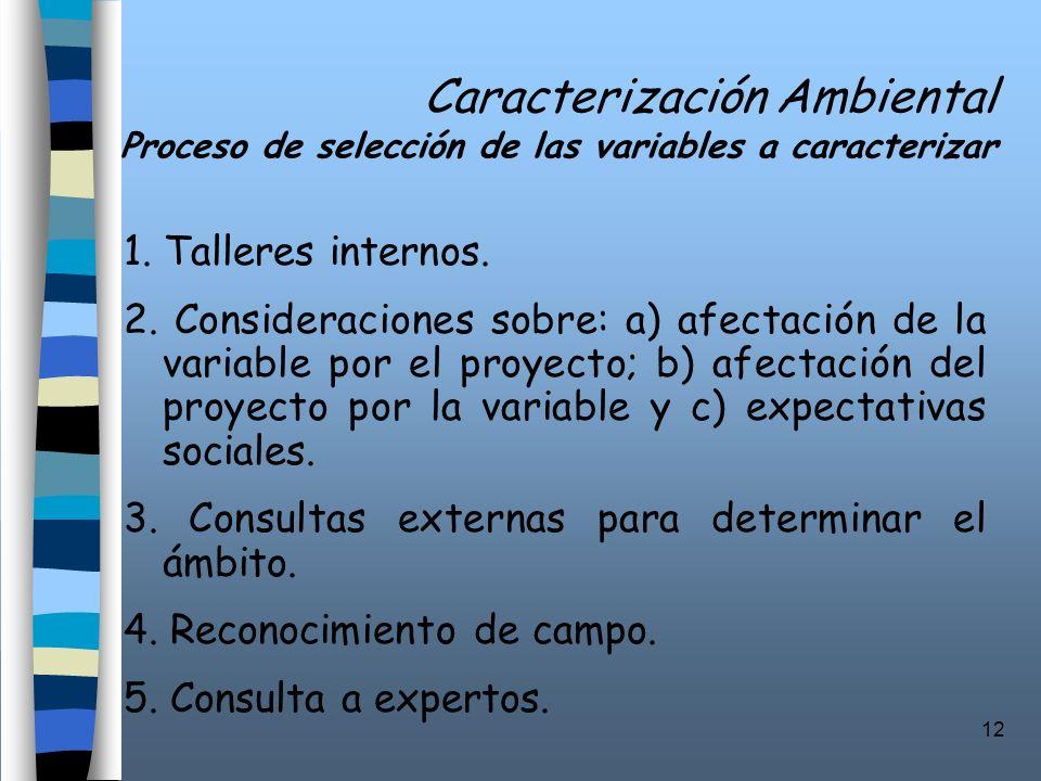 12 Caracterización Ambiental Proceso de selección de las variables a caracterizar 1. Talleres internos. 2. Consideraciones sobre: a) afectación de la