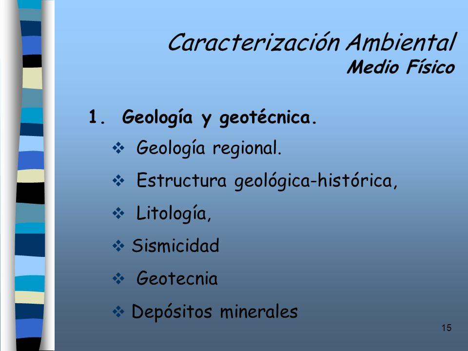 15 Caracterización Ambiental Medio Físico 1. Geología y geotécnica. Geología regional. Estructura geológica-histórica, Litología, Sismicidad Geotecnia