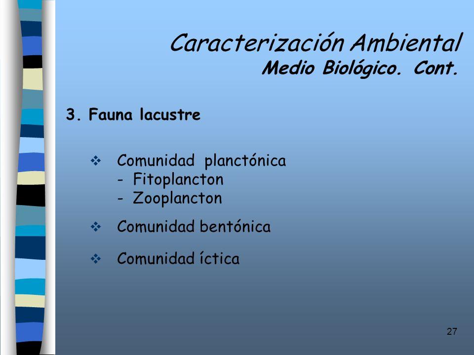 27 Caracterización Ambiental Medio Biológico. Cont. 3. Fauna lacustre Comunidad planctónica - Fitoplancton - Zooplancton Comunidad bentónica Comunidad