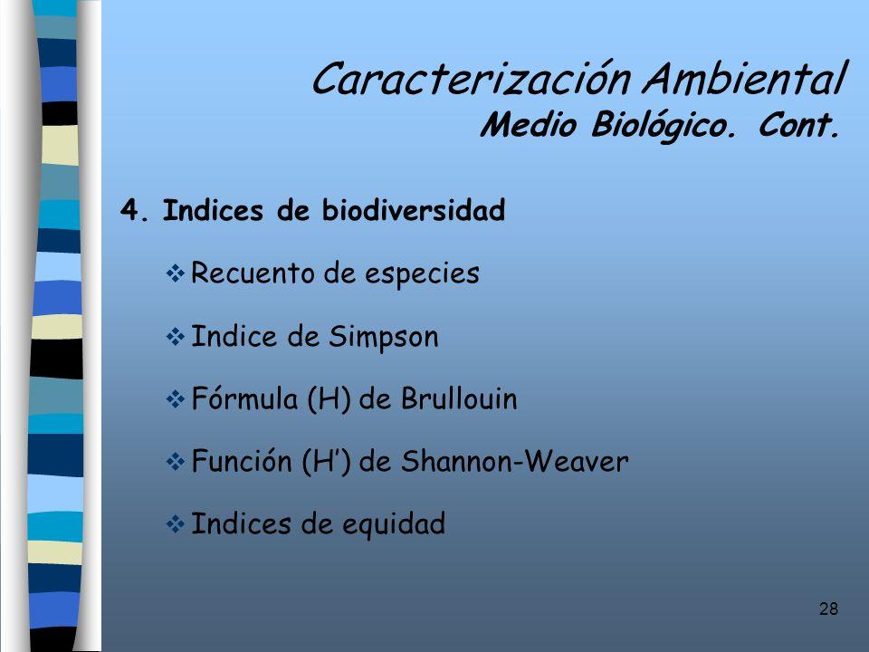28 Caracterización Ambiental Medio Biológico. Cont. 4. Indices de biodiversidad Recuento de especies Indice de Simpson Fórmula (H) de Brullouin Funció