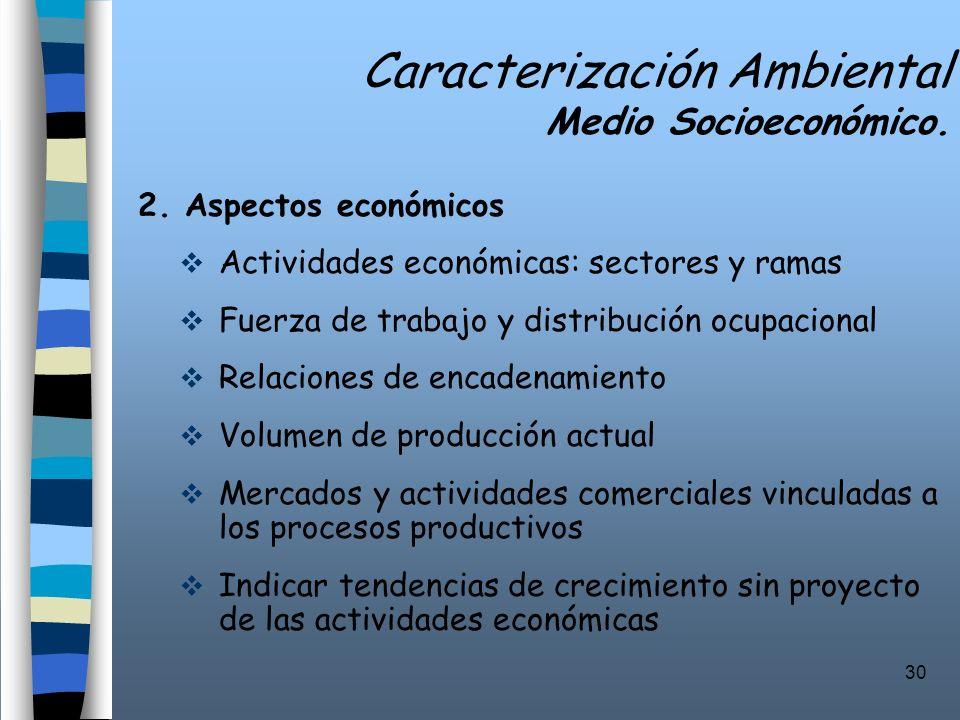 30 Caracterización Ambiental Medio Socioeconómico. 2. Aspectos económicos Actividades económicas: sectores y ramas Fuerza de trabajo y distribución oc