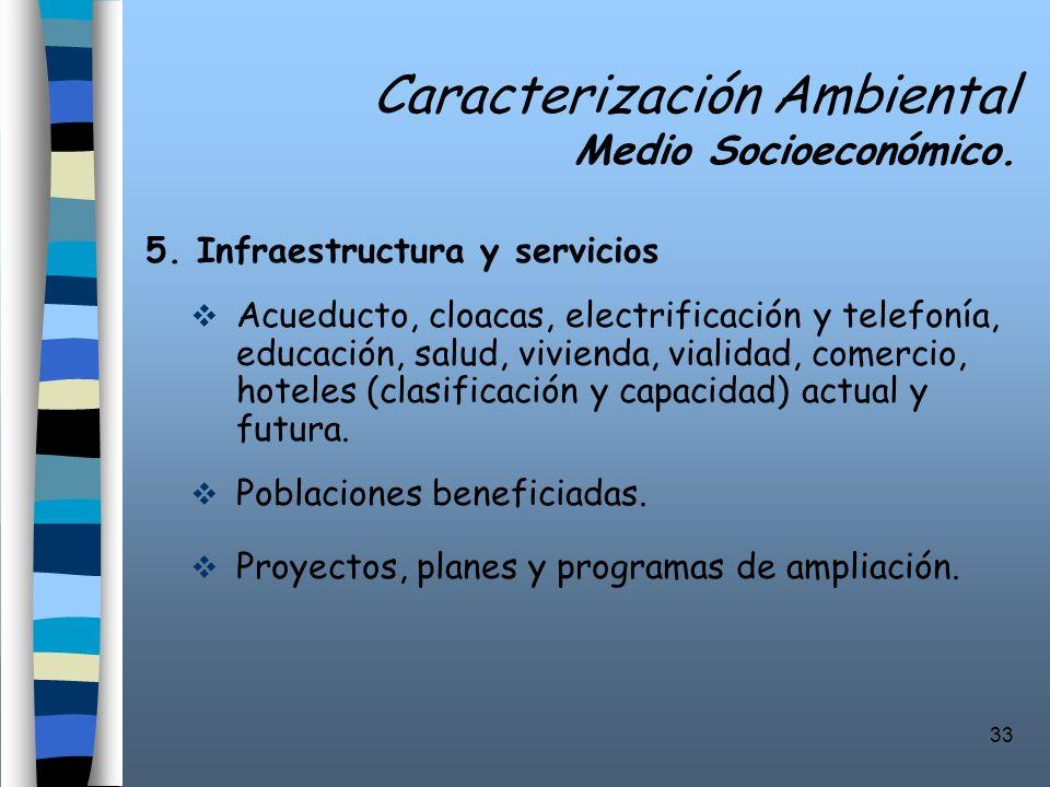 33 Caracterización Ambiental Medio Socioeconómico. 5. Infraestructura y servicios Acueducto, cloacas, electrificación y telefonía, educación, salud, v
