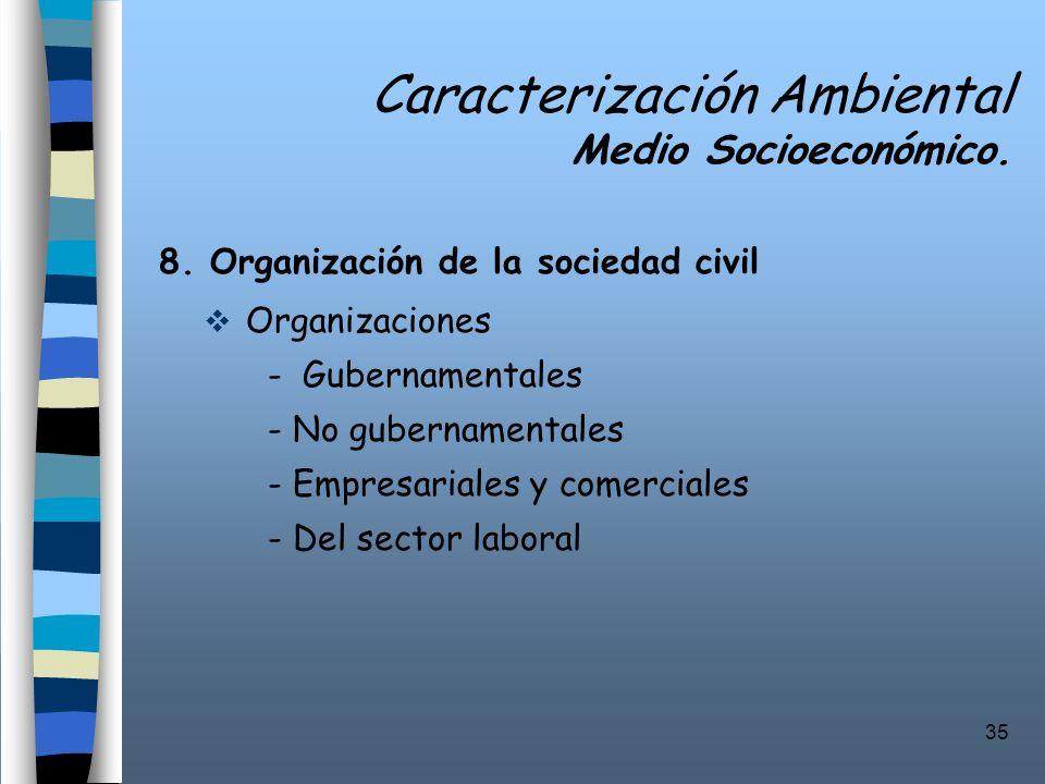 35 Caracterización Ambiental Medio Socioeconómico. 8. Organización de la sociedad civil Organizaciones - Gubernamentales - No gubernamentales - Empres