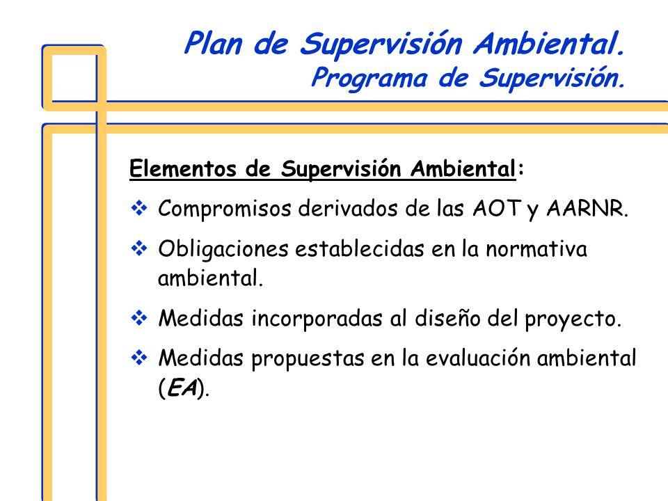 Elementos de Supervisión Ambiental: Compromisos derivados de las AOT y AARNR. Obligaciones establecidas en la normativa ambiental. Medidas incorporada