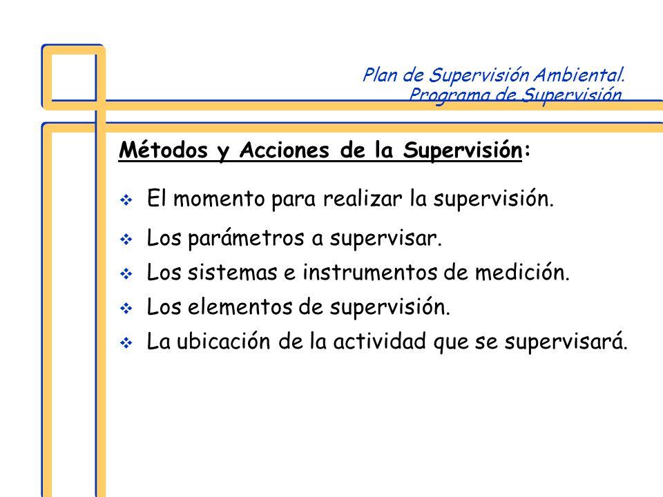 Plan de Supervisión Ambiental. Programa de Supervisión. Métodos y Acciones de la Supervisión: El momento para realizar la supervisión. Los parámetros