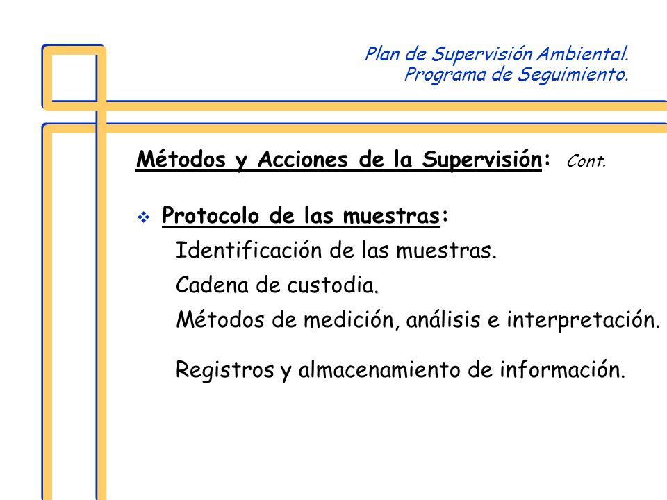 Plan de Supervisión Ambiental. Programa de Seguimiento. Métodos y Acciones de la Supervisión: Cont. Protocolo de las muestras: Identificación de las m