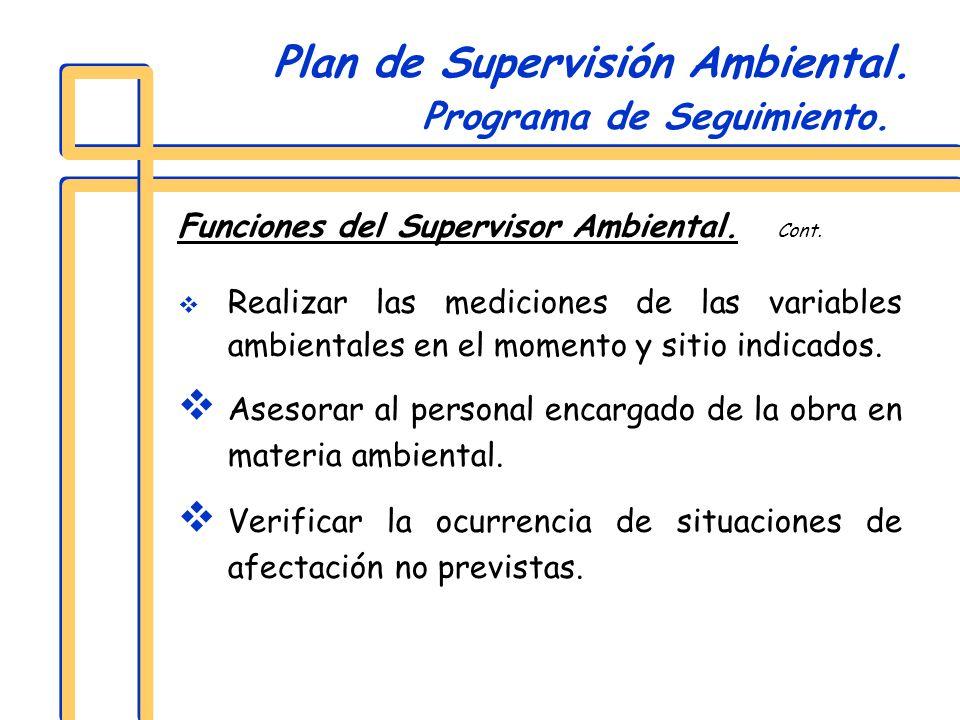 Funciones del Supervisor Ambiental. Cont. Realizar las mediciones de las variables ambientales en el momento y sitio indicados. Asesorar al personal e
