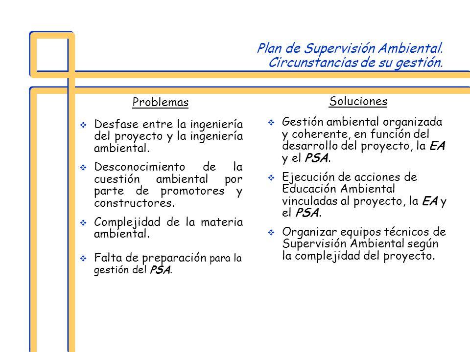 Plan de Supervisión Ambiental. Circunstancias de su gestión. Problemas Desfase entre la ingeniería del proyecto y la ingeniería ambiental. Desconocimi