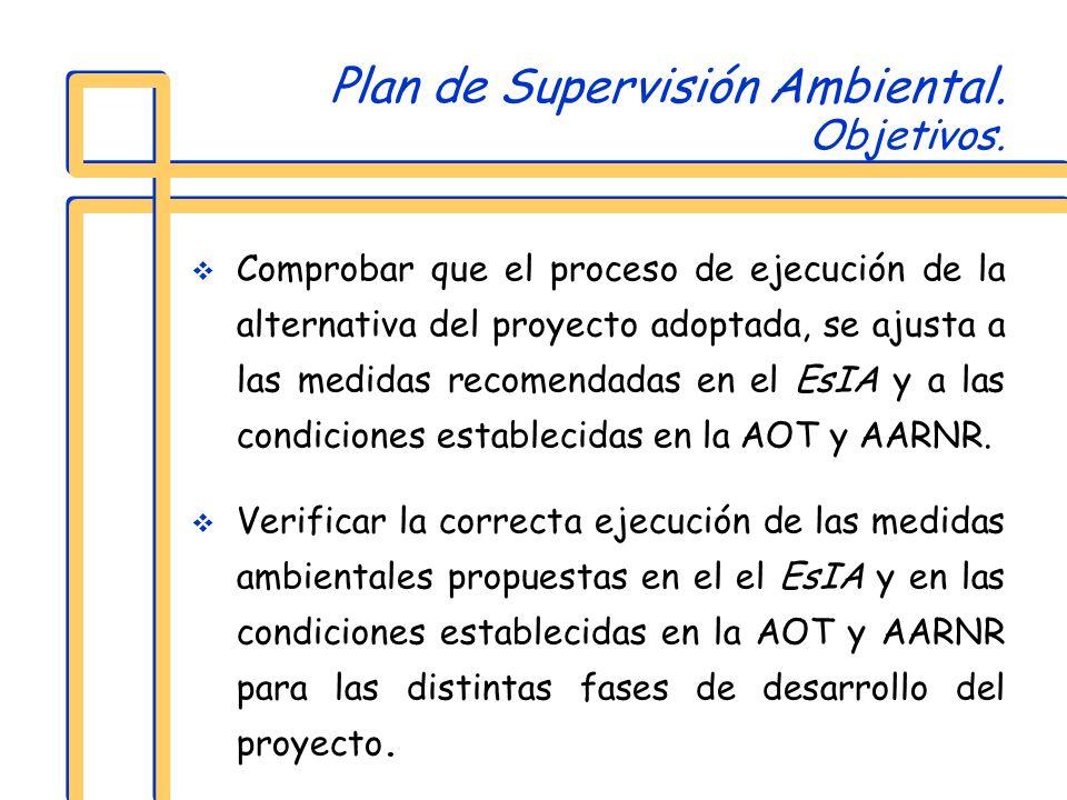 Plan de Supervisión Ambiental. Objetivos. Comprobar que el proceso de ejecución de la alternativa del proyecto adoptada, se ajusta a las medidas recom