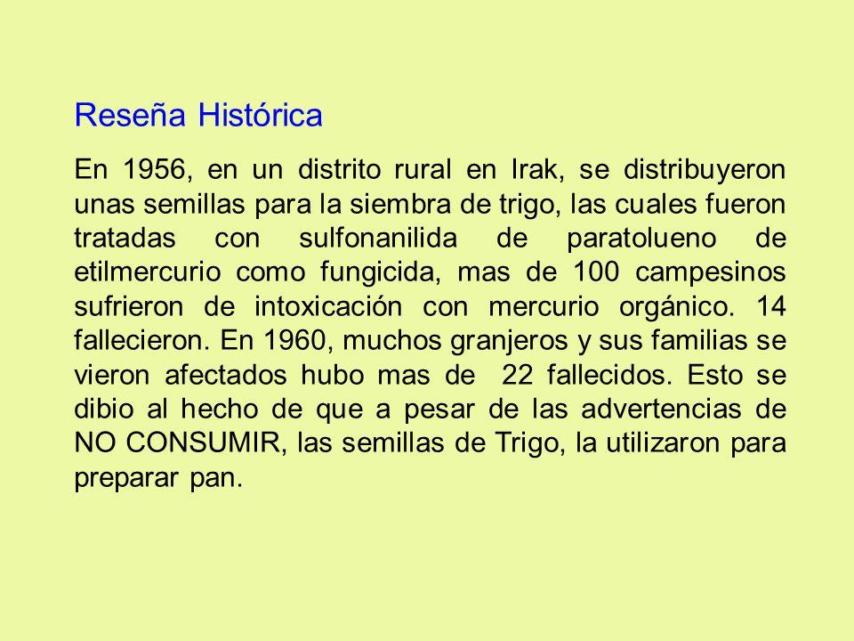 Reseña Histórica En 1956, en un distrito rural en Irak, se distribuyeron unas semillas para la siembra de trigo, las cuales fueron tratadas con sulfon