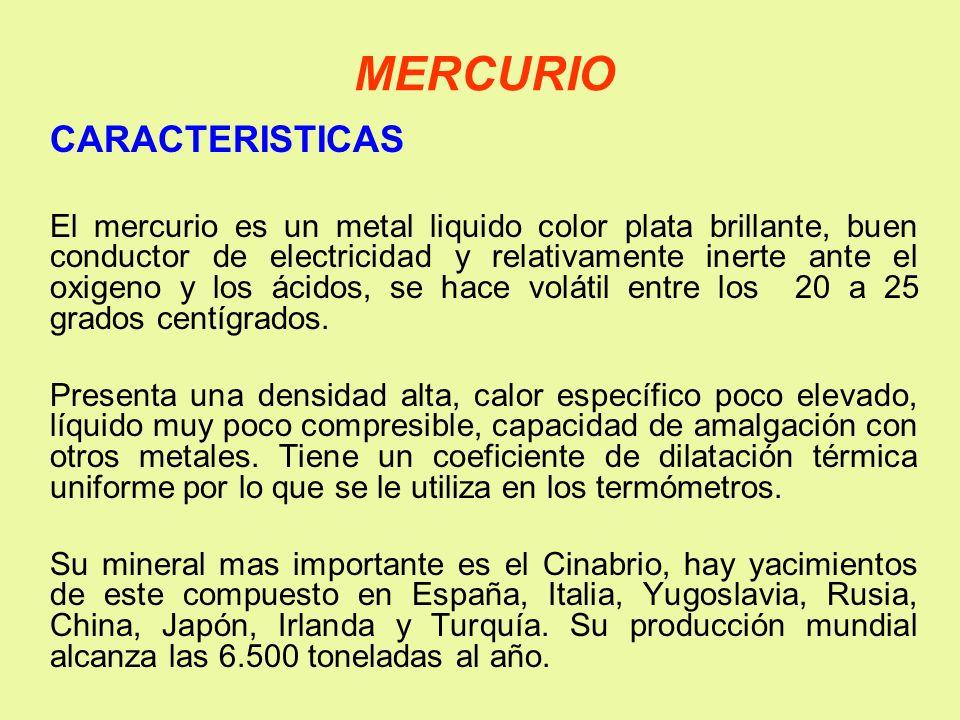 MERCURIO CARACTERISTICAS El mercurio es un metal liquido color plata brillante, buen conductor de electricidad y relativamente inerte ante el oxigeno