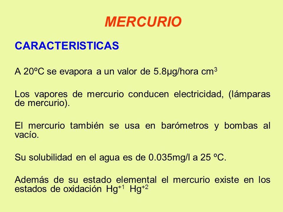 MERCURIO CARACTERISTICAS A 20ºC se evapora a un valor de 5.8µg/hora cm 3 Los vapores de mercurio conducen electricidad, (lámparas de mercurio). El mer