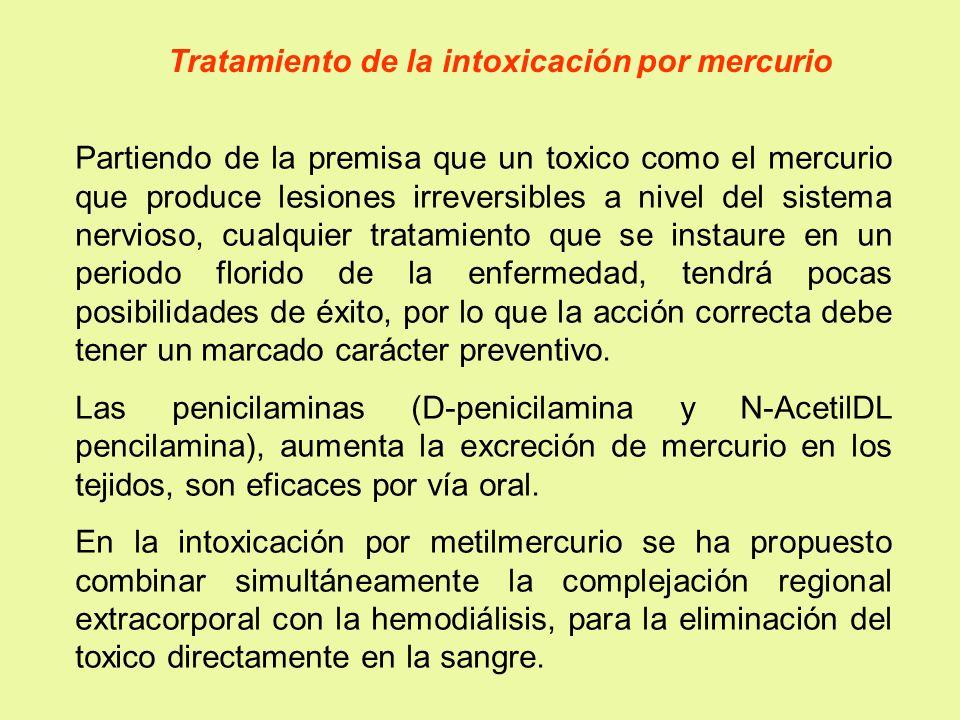 Tratamiento de la intoxicación por mercurio Partiendo de la premisa que un toxico como el mercurio que produce lesiones irreversibles a nivel del sist