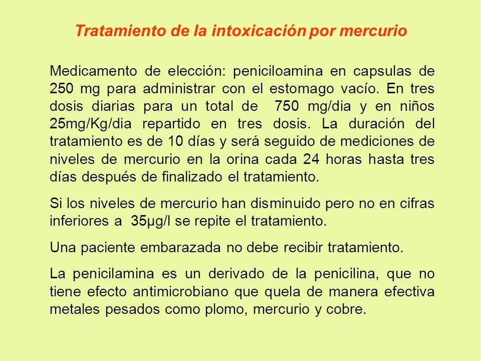 Tratamiento de la intoxicación por mercurio Medicamento de elección: peniciloamina en capsulas de 250 mg para administrar con el estomago vacío. En tr