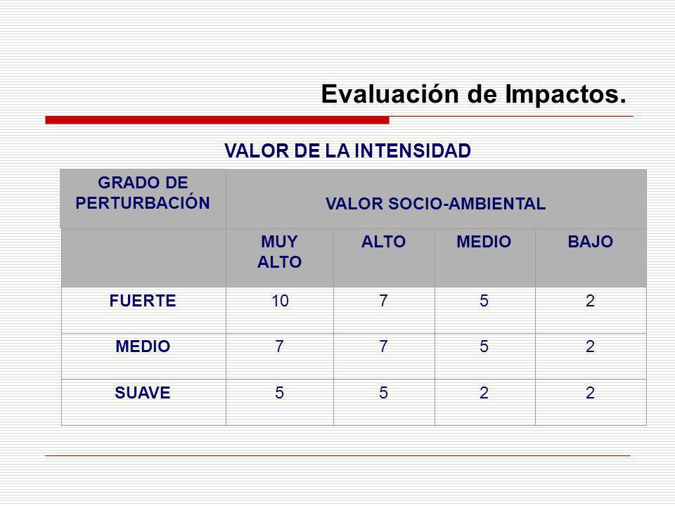 Evaluación de Impactos. VALOR DE LA INTENSIDAD GRADO DE PERTURBACIÓN VALOR SOCIO-AMBIENTAL MUY ALTO ALTOMEDIOBAJO FUERTE10752 MEDIO7752 SUAVE5522