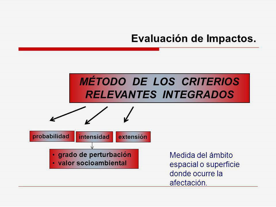 Evaluación de Impactos. MÉTODO DE LOS CRITERIOS RELEVANTES INTEGRADOS probabilidad extensiónintensidad grado de perturbación valor socioambiental Medi