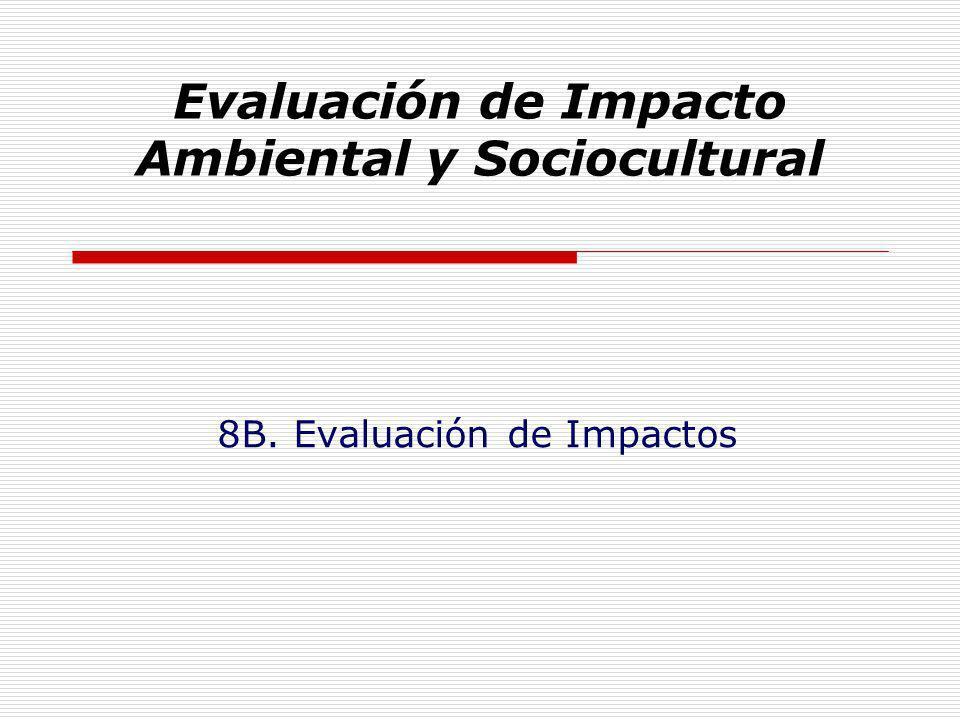 Evaluación de Impacto Ambiental y Sociocultural 8B. Evaluación de Impactos