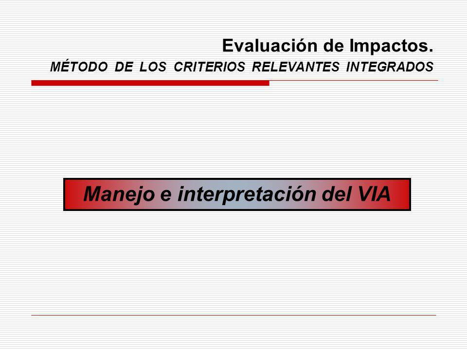 Evaluación de Impactos. MÉTODO DE LOS CRITERIOS RELEVANTES INTEGRADOS Manejo e interpretación del VIA