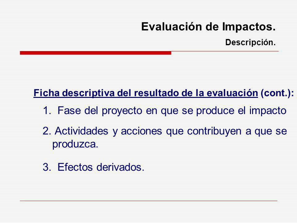 Evaluación de Impactos. Descripción. 1. Fase del proyecto en que se produce el impacto 2. Actividades y acciones que contribuyen a que se produzca. 3.