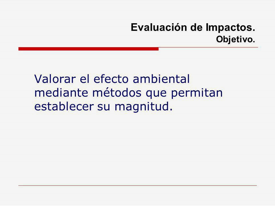 Evaluación de Impactos. Objetivo. Valorar el efecto ambiental mediante métodos que permitan establecer su magnitud.