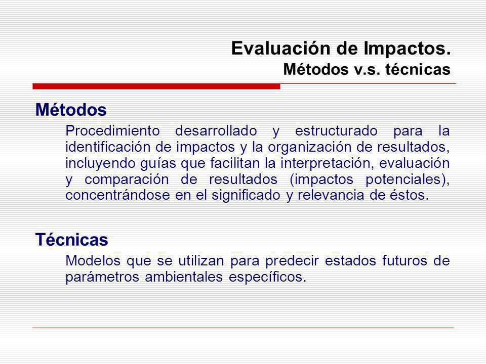Evaluación de Impactos. Métodos v.s. técnicas Métodos Procedimiento desarrollado y estructurado para la identificación de impactos y la organización d