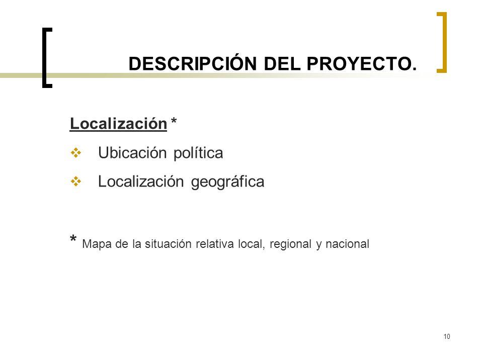 10 DESCRIPCIÓN DEL PROYECTO. Localización * Ubicación política Localización geográfica * Mapa de la situación relativa local, regional y nacional