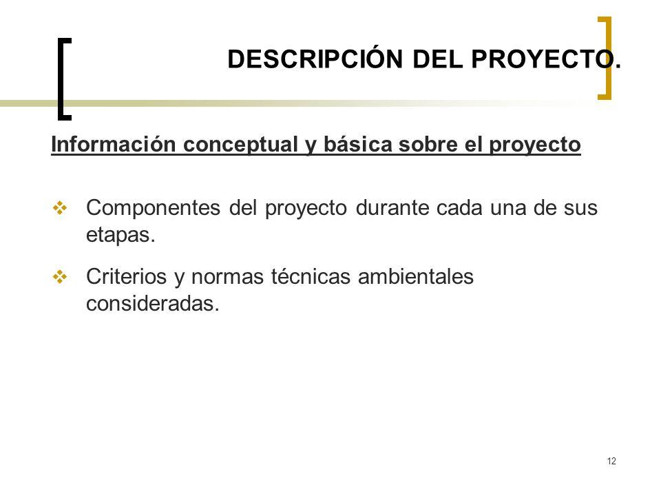 12 DESCRIPCIÓN DEL PROYECTO. Información conceptual y básica sobre el proyecto Componentes del proyecto durante cada una de sus etapas. Criterios y no