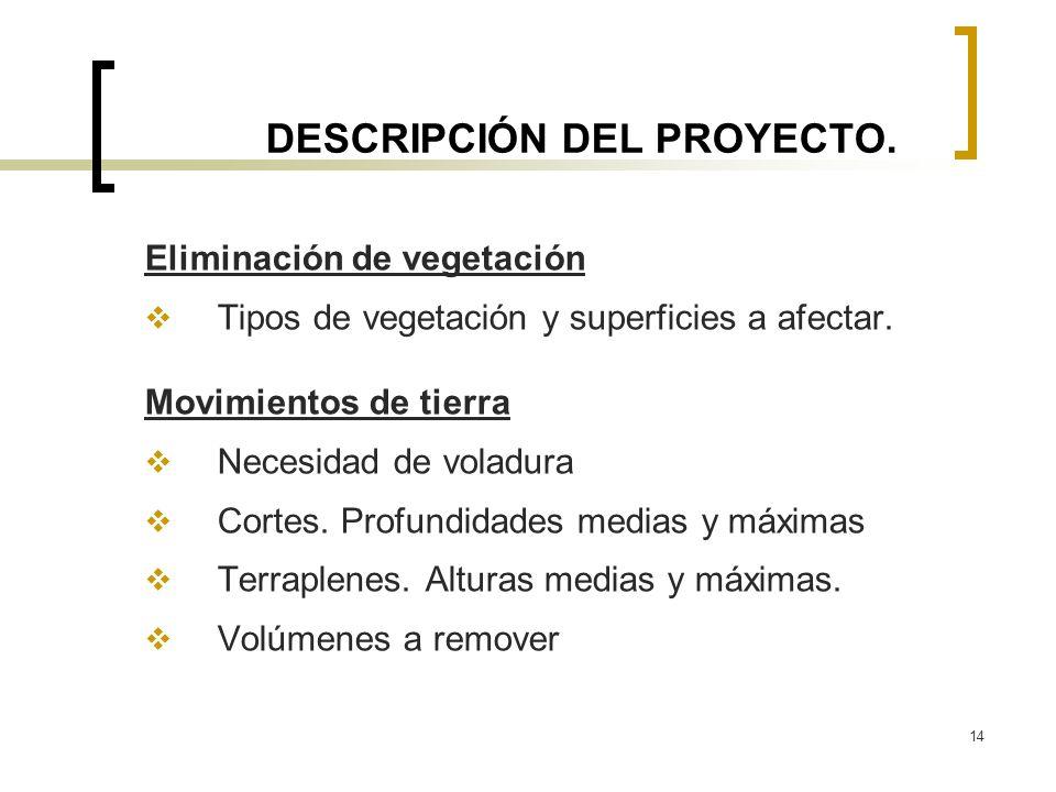 14 DESCRIPCIÓN DEL PROYECTO. Eliminación de vegetación Tipos de vegetación y superficies a afectar. Movimientos de tierra Necesidad de voladura Cortes