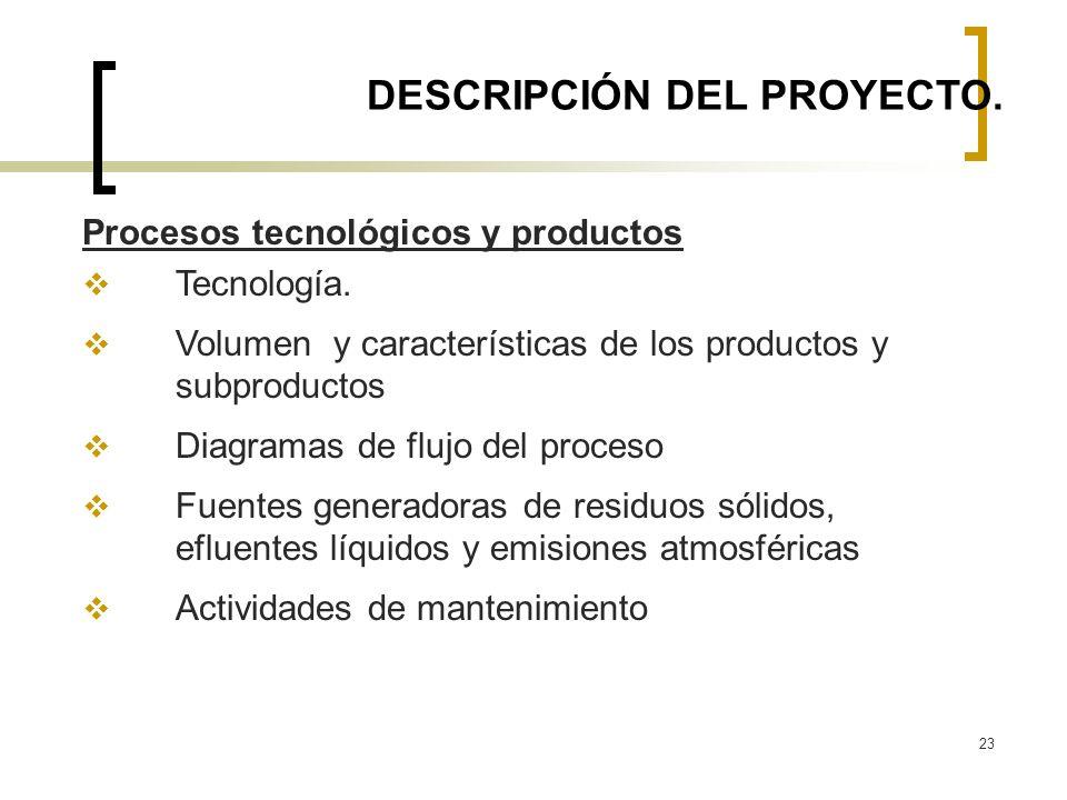 23 DESCRIPCIÓN DEL PROYECTO. Procesos tecnológicos y productos Tecnología. Volumen y características de los productos y subproductos Diagramas de fluj