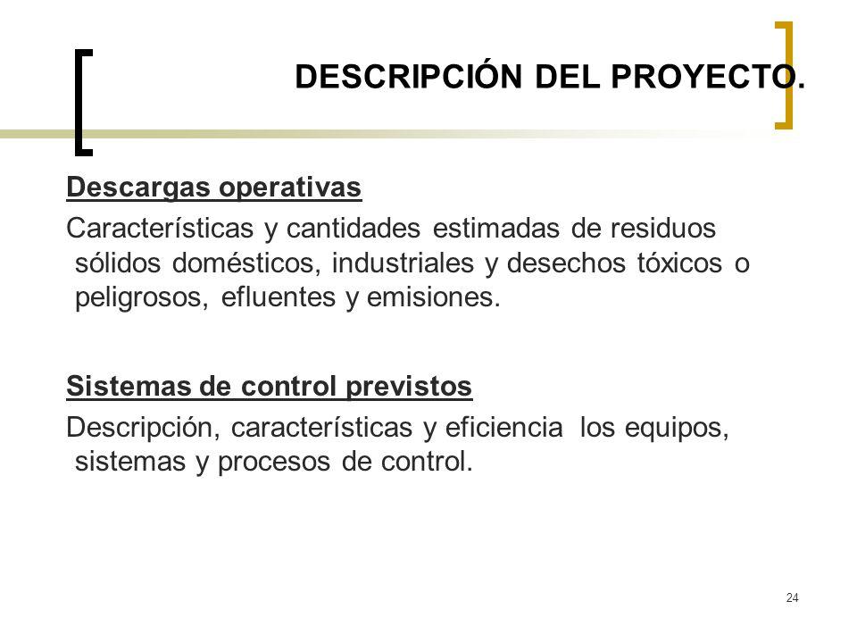 24 DESCRIPCIÓN DEL PROYECTO. Descargas operativas Características y cantidades estimadas de residuos sólidos domésticos, industriales y desechos tóxic
