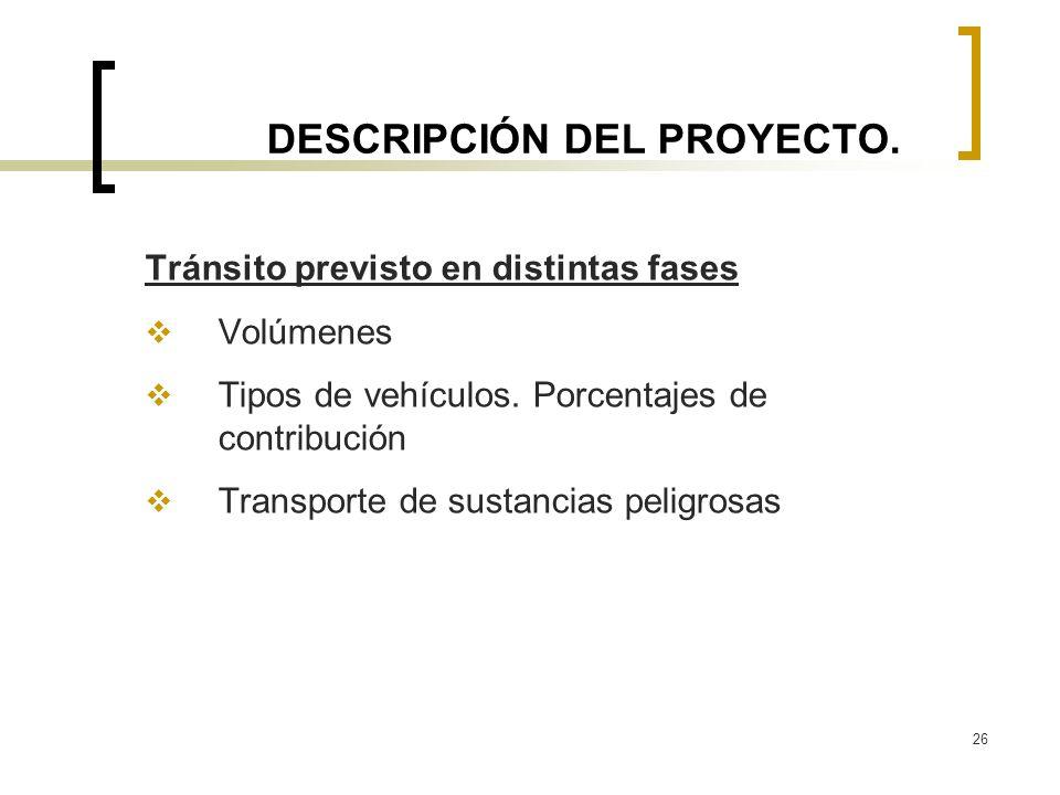 26 DESCRIPCIÓN DEL PROYECTO. Tránsito previsto en distintas fases Volúmenes Tipos de vehículos. Porcentajes de contribución Transporte de sustancias p