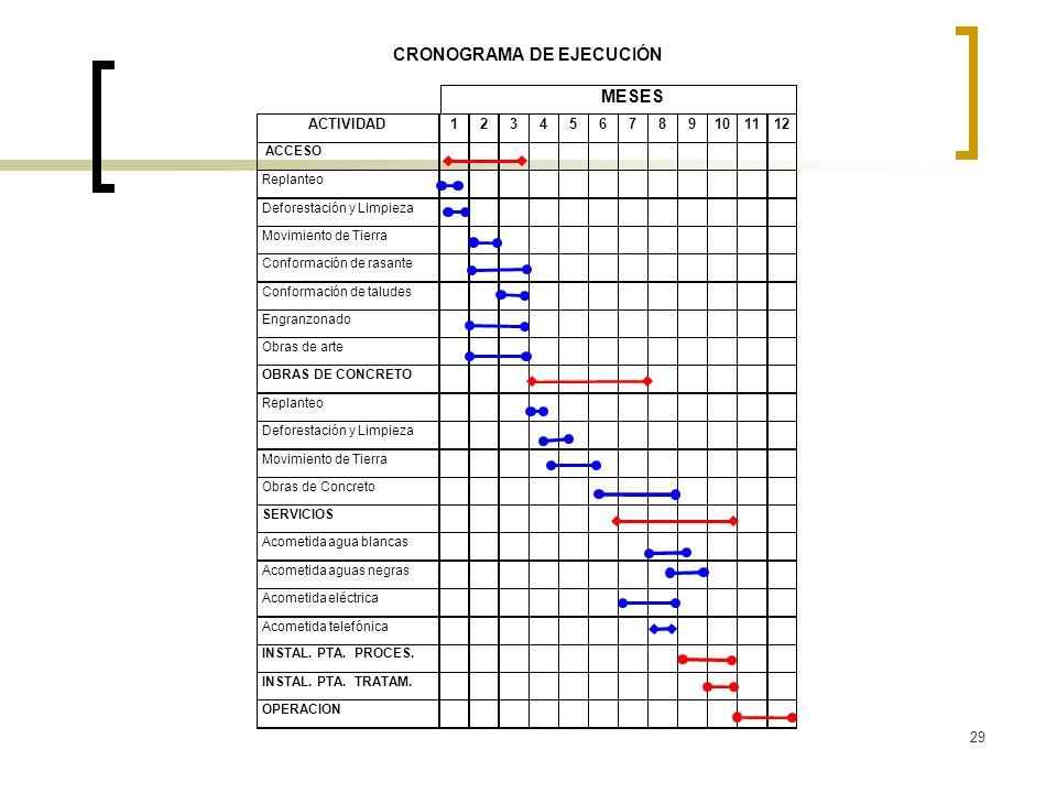 29 CRONOGRAMA DE EJECUCIÓN MESES ACTIVIDAD123456789101112 ACCESO Replanteo Deforestación y Limpieza Movimiento de Tierra Conformación de rasante Confo
