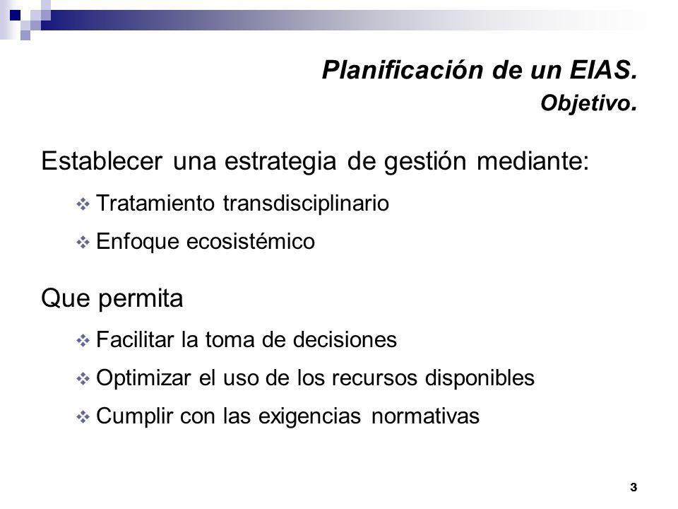 3 Planificación de un EIAS. Objetivo. Establecer una estrategia de gestión mediante: Tratamiento transdisciplinario Enfoque ecosistémico Que permita F