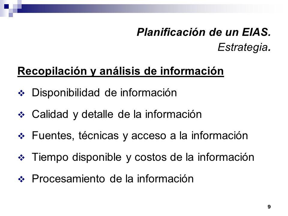 9 Planificación de un EIAS. Estrategia. Recopilación y análisis de información Disponibilidad de información Calidad y detalle de la información Fuent