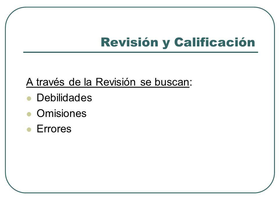 Revisión y Calificación A través de la Revisión se buscan: Debilidades Omisiones Errores