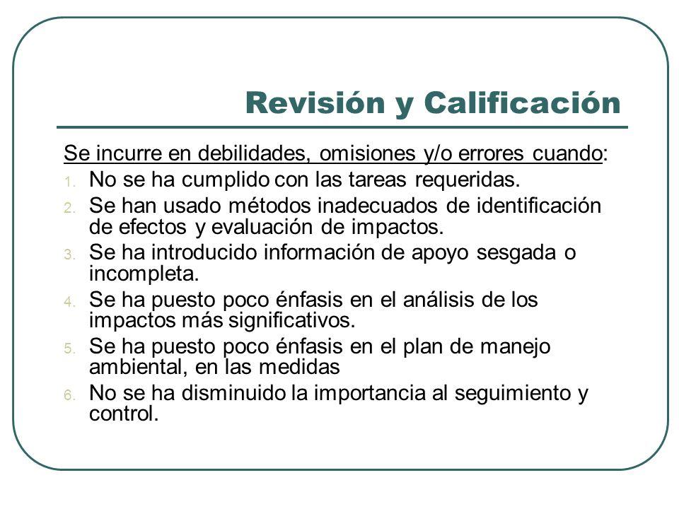 Revisión y Calificación Se incurre en debilidades, omisiones y/o errores cuando: 1. No se ha cumplido con las tareas requeridas. 2. Se han usado métod